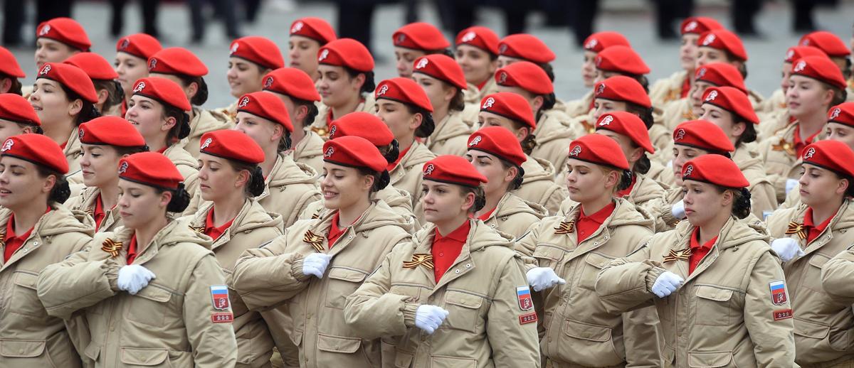 Бойцы «Юнармии» на Параде Победы, Москва, Красная площадь, 9 мая 2017 года