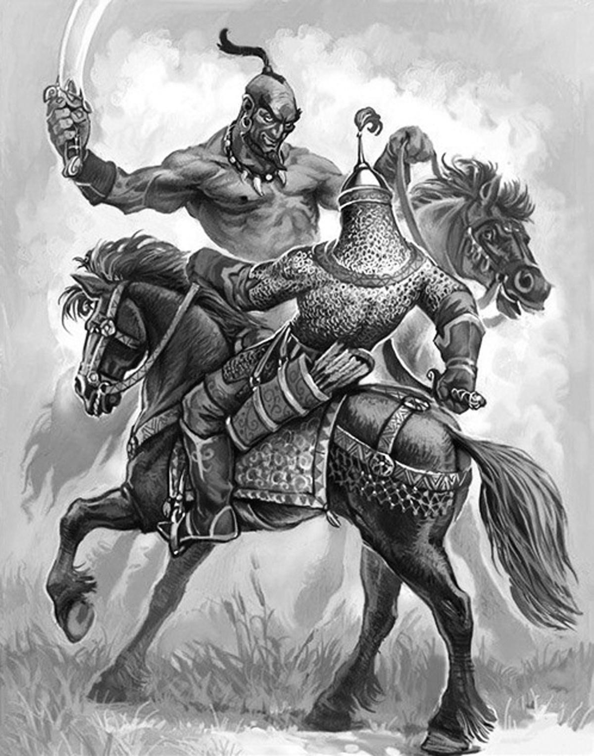 Алеша Попович сражается с напавшими на Русь отвратительными злыми монголоидами